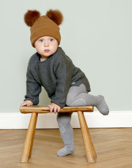 Strumpfhosen Baby Crawling Wool Grey Melange von Go Baby Go