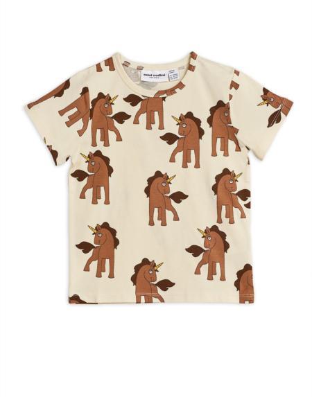 T-Shirt Kids Unicorns Crème Braun von Mini Rodini