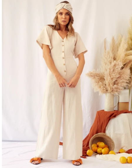 Jumpsuit Adult Indigo Beige Linen von The Lost Tribe