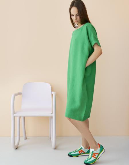 Linen Dress Loud Green von Papu