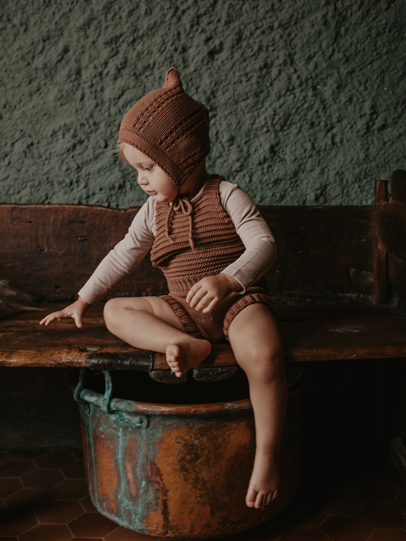 Knit Romper Baby Mocha von The Simple Folk