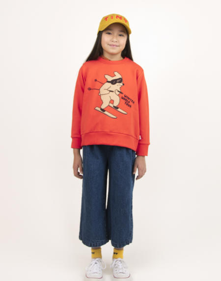 Pulli Kids Skiing Dog Red von Tinycottons