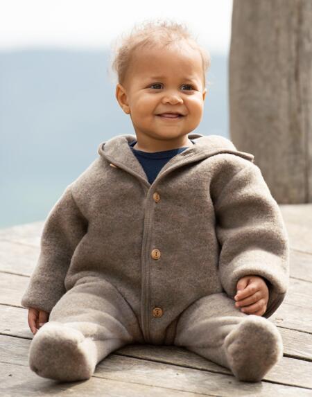 Overall Wollfleece Baby Wallnuss von Engel Natur