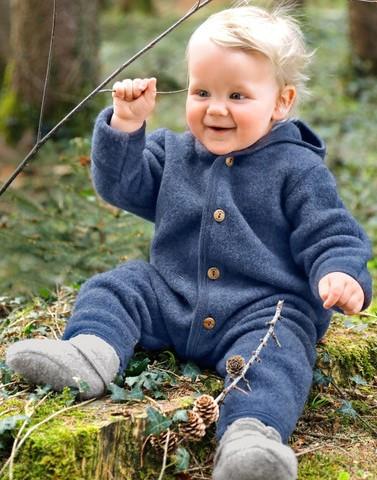 Overall Wollfleece Baby Blau von Engel Natur