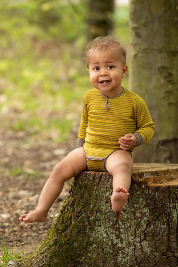 Body Langarm Baby Safran/Walnuss von Engel Natur
