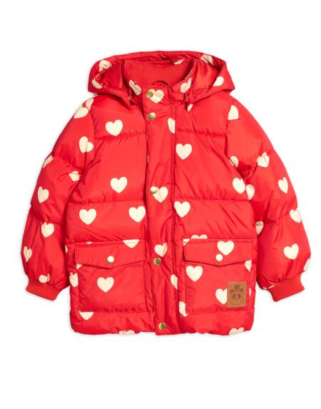 Pufferjacke Kids Hearts Rot von Mini Rodini