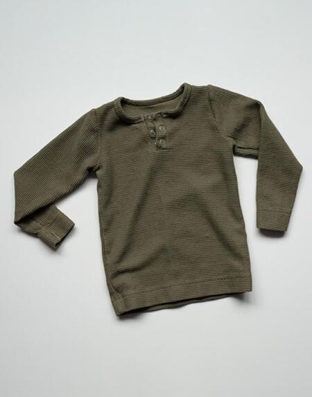 Longsleeve Shirt Waffle Olive von The Simple Folk