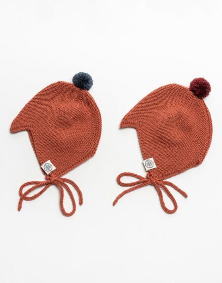 Mütze Baby Asta & August Merino Terracotta von Mini Fabrik
