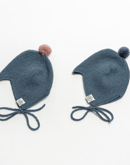 Mütze Baby Asta & August Merino Petrol von Mini Fabrik