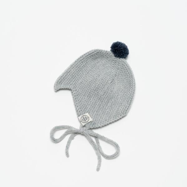 Mütze Baby Asta & August Merino Hellgrau von Mini Fabrik