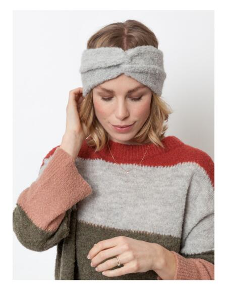 Stirnband Twist Light Grey von LN Knits