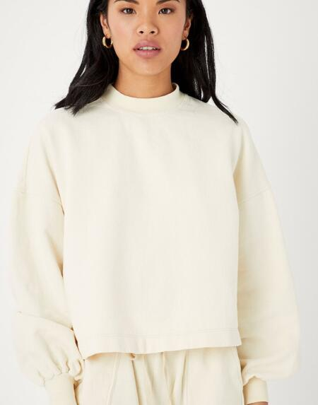 Pullover Recycled Cotton Puff Sleeve Black von Backbeat