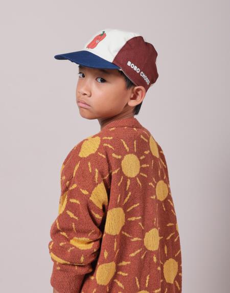 Strickjacke Kids Sun Jaquard Coconut Shell von Bobo Choses