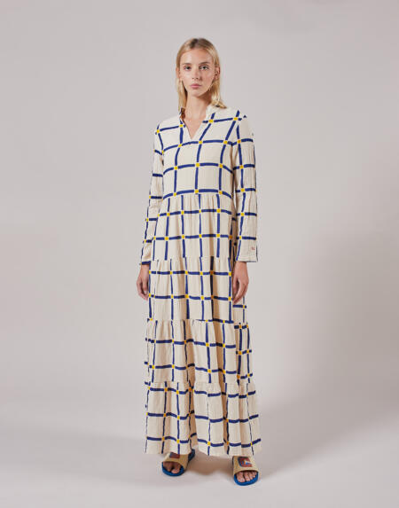 Kleid Long Flared Check Dress von Bobo Choses