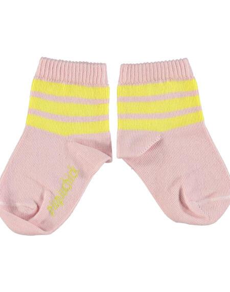 Socken Pink with Yellow Stripes von Piupiuchick