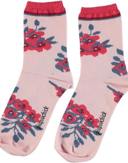 Socken Pale Pink with Flowers von Piupiuchick