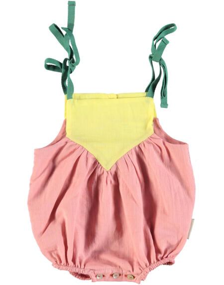 Romper Baby Tri-color Pink Yellow & Green von PiuPiuchick