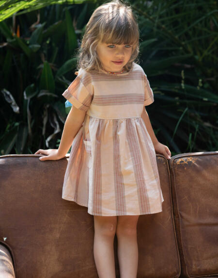 Kleid Kids Almond & Multicolor Stripes von Piupiuchick