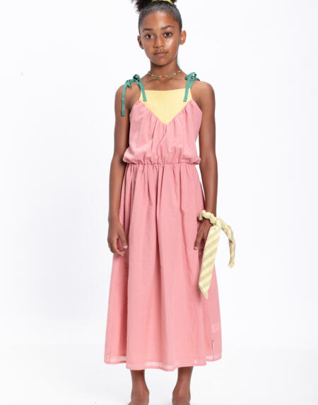 Kleid Kids Tri-color Vintage Pink von Piupiuchick