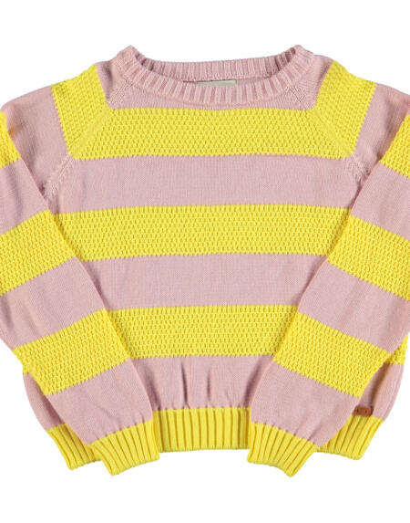 Strickpulli Kids Pink & Yellow Stripes von Piupiuchick