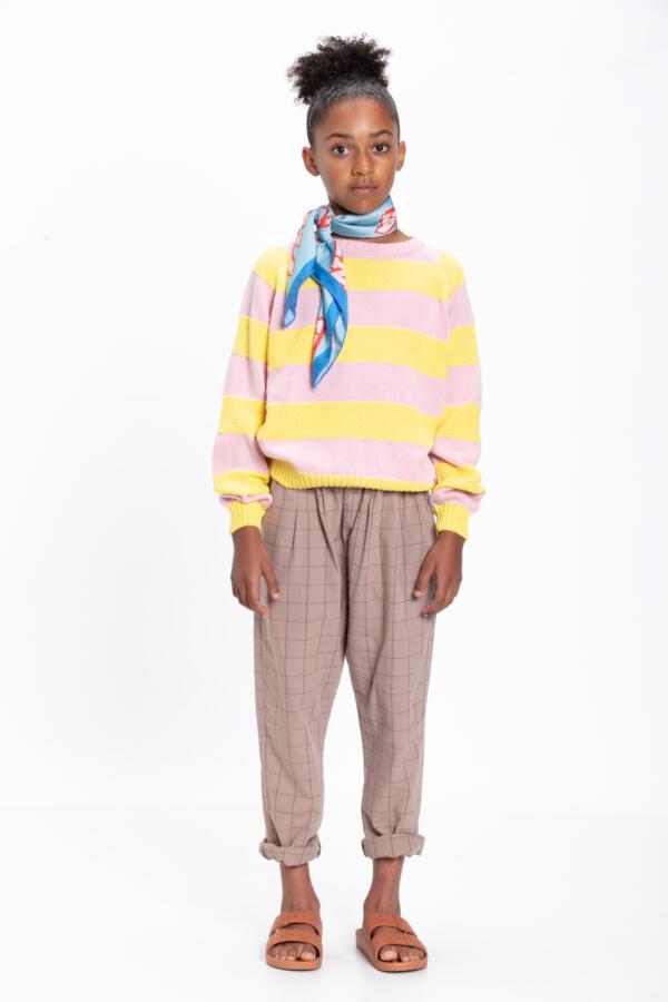 Strickpulli Kids Pink & Yellow Stripes von Piupiuchick