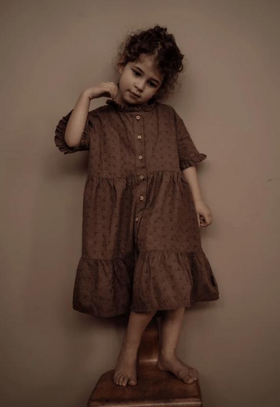 Kleid Kids Celine Rose Taupe von Daily Brat