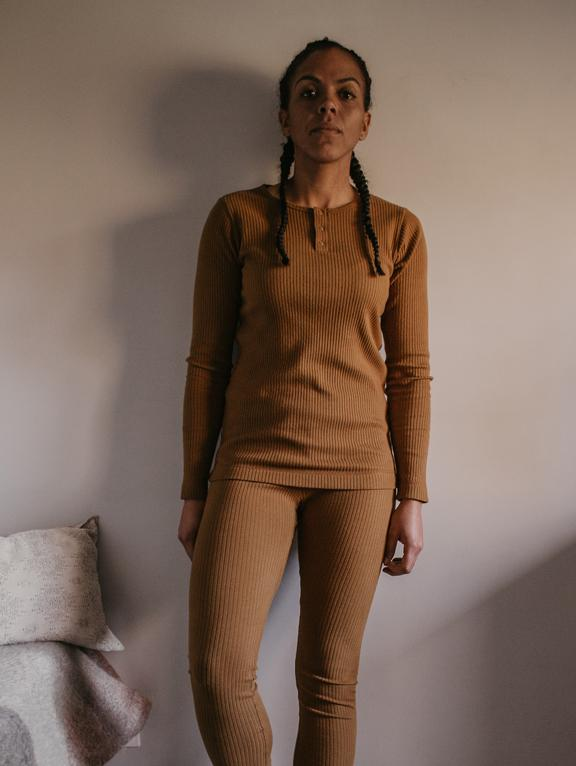 The Ribbed Legging Woman Camel von The Simple Folk