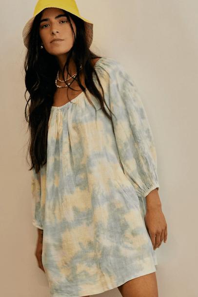 Linen Rory Dress Tie Dye Honey/Marine von Backbeat