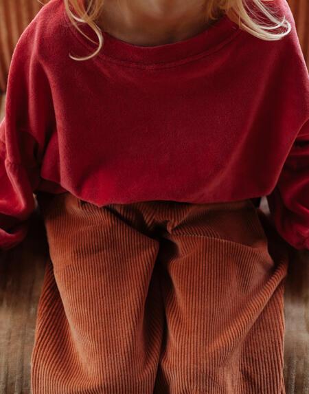 Pullover Kids Velours Rot von Daily Brat