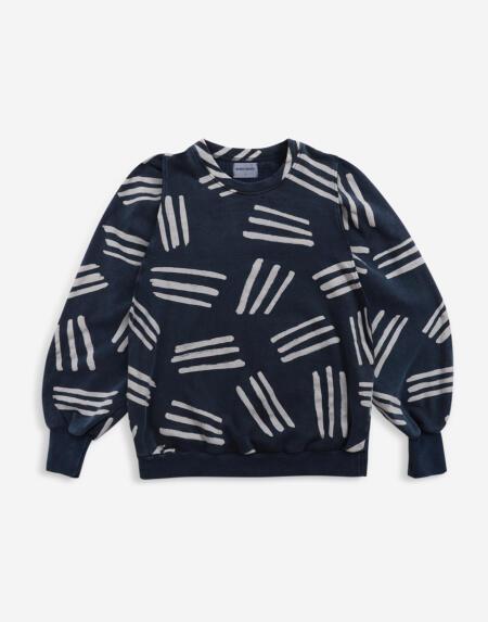 Pulli Adults Stripe Print Puff Sleeve von Bobo Choses
