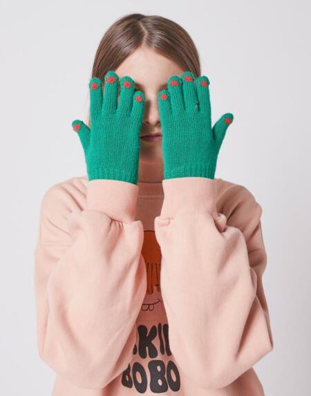 Handschuhe gestrickt grün von Bobo Choses