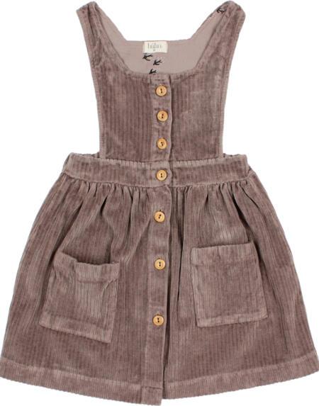 Kleid Kids Velour Taupe von Buho