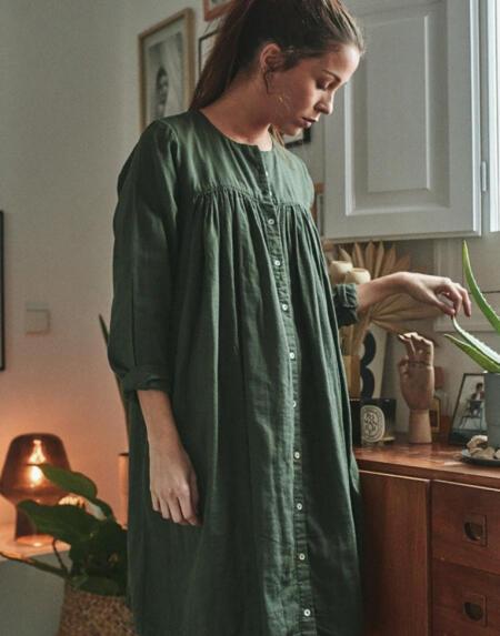 Kleid Petunia Forest Green von Poudre Organic