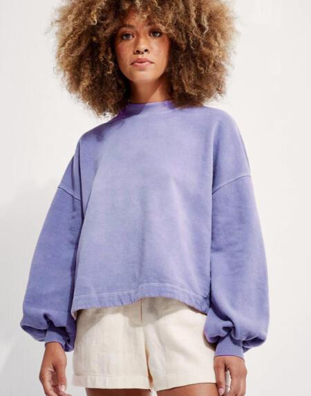 Sweatshirt Recycled Cotton Puff Sleeve Heron von Backbeat